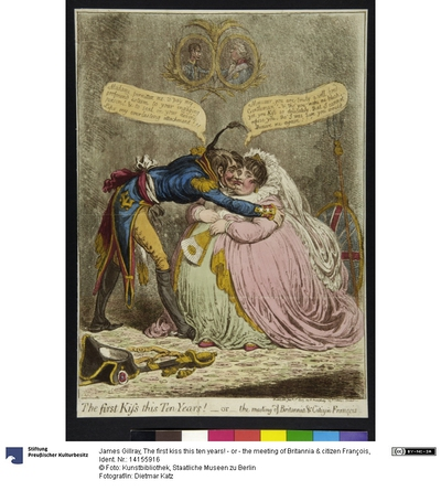 The first kiss this ten years! - or - the meeting of Britannia & citizen François