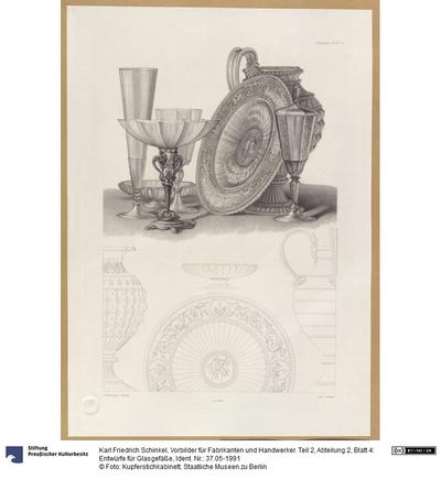 Vorbilder für Fabrikanten und Handwerker. Teil 2, Abteilung 2, Blatt 4: Entwürfe für Glasgefäße