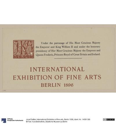 International Exhibition of fine arts, Berlin 1896