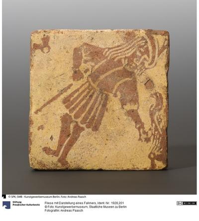 Fliese mit Darstellung eines Falkners