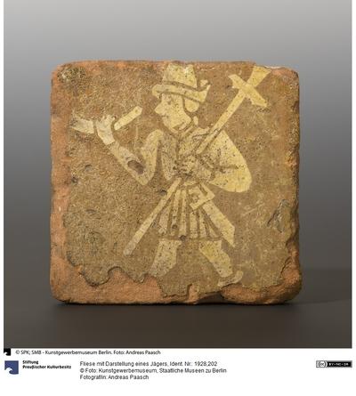 Fliese mit Darstellung eines Jägers