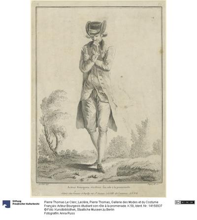 Gallerie des Modes et du Costume Français: Acteur Bourgeois étudiant son rôle à la promenade. K.58
