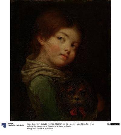 Kleines Mädchen mit Bologneser Hund