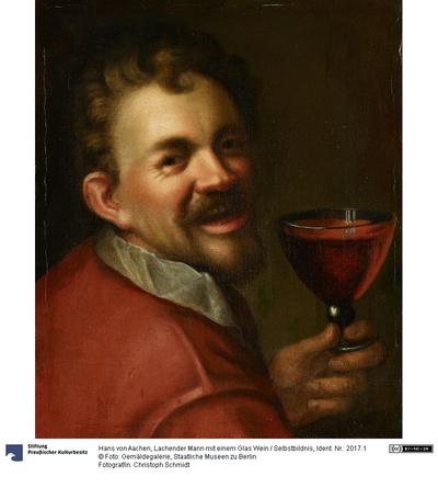 Lachender Mann mit einem Glas Wein (Selbstbildnis).