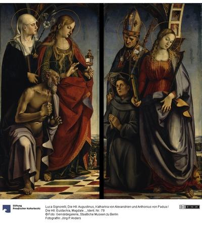 Zwei Seitentafeln eines Altarwerks. Rechte Tafel: Die Hll. Augustinus, Katharina von Alexandrien und Anthonius von Padua. Linke Tafel: Die Hll. Eustachia, Magdalena und Hieronymus.