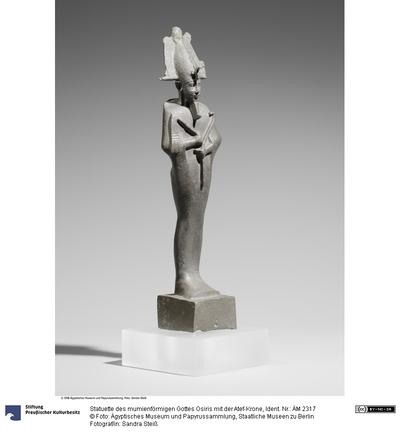 Statuette des mumienförmigen Gottes Osiris mit der Atef-Krone