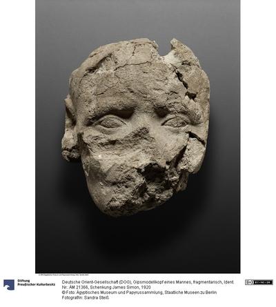 Gipsmodellkopf eines Mannes, fragmentarisch