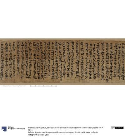 Hieratischer Papyrus, Streitgespräch eines Lebensmüden mit seiner Seele