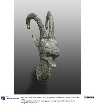 Kopf eines Steinbocks, der wohl als Bug-Dekoration einer Kultbarke diente