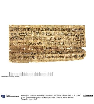 Hieratisches Dokument, Brief des Bürgermeisters von Theben Sennefer