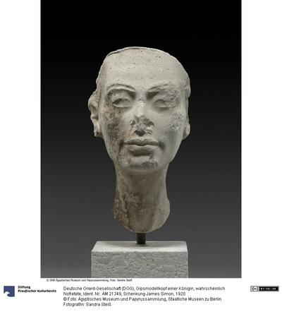 Gipsmodellkopf einer Königin, wahrscheinlich Nofretete