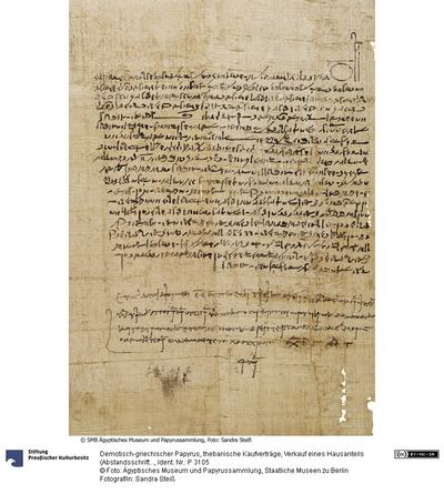 Demotisch-griechischer Papyrus, thebanische Kaufverträge