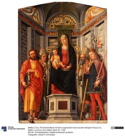 Thronende Maria mit dem segnenden Kind und den Heiligen Paulus (?), Martin, Lucanus und Joathá