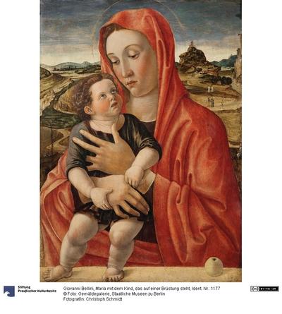 Maria mit dem Kind, das auf einer Brüstung steht