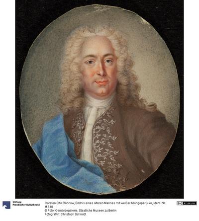 Bildnis eines älteren Mannes mit weißer Allongeperücke