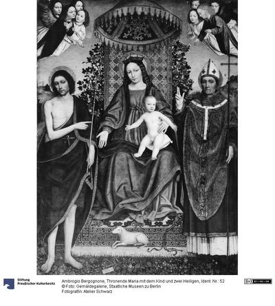 Thronende Maria mit dem Kind und zwei Heiligen