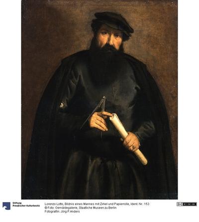 Bildnis eines Mannes mit Zirkel und Papierrolle