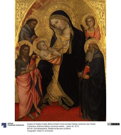 Maria mit dem Kind und den Heilige Johannes der Täufer, Franziskus, Antonius Abbas und einer weiblichen Märtyrerin