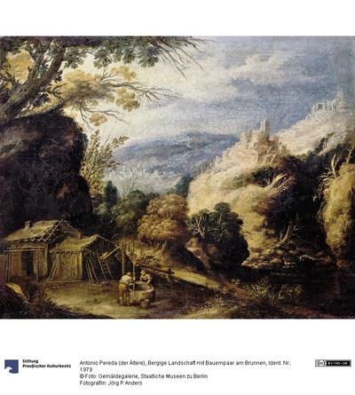 Bergige Landschaft mit Bauernpaar am Brunnen