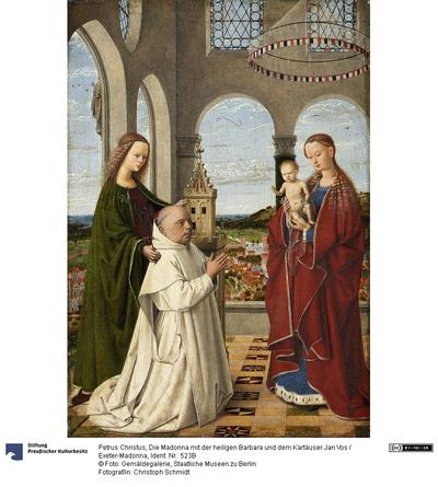 Die Madonna mit der heiligen Barbara und dem Kartäuser Jan Vos (sogenannte Exeter-Madonna)