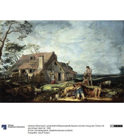 Landschaft mit Bauerngehöft, Bauern und dem Auszug des Tobias mit dem Engel