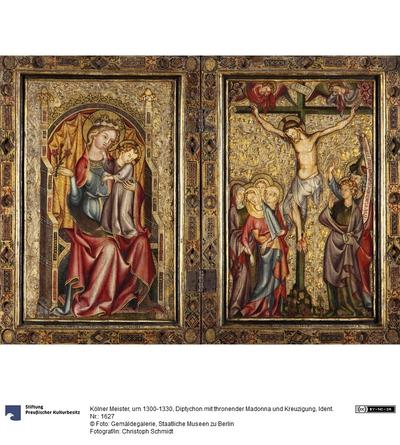 Thronende Madonna, Kreuzigung; Außenseite Verkündigung an Maria