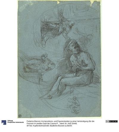 Kompositions- und Figurenstudien zu einer Verkündigung (für die Fresken im zweiten Saal der Casina Pio IV im Vatikan)