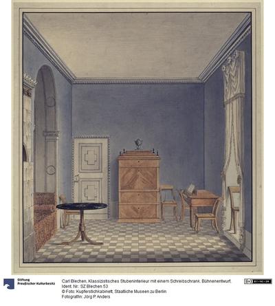 Klassizistisches Stubeninterieur mit einem Schreibschrank. Bühnenentwurf