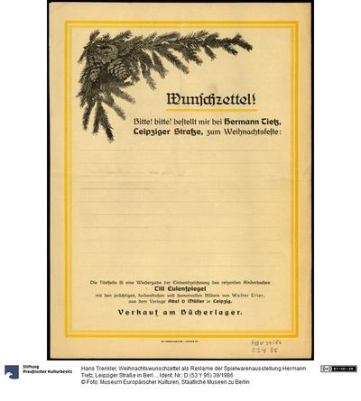 Weihnachtswunschzettel als Reklame der Spielwarenausstellung Hermann Tietz, Leipziger Straße in Berlin, um 1920.