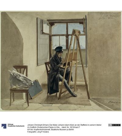 Der Maler Johann Adam Klein an der Staffelei in seinem Atelier im Gräflich Chotekschen Palais in Wien