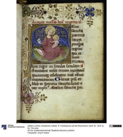 Gebetbuch, Initiale S mit Madonna auf der Rosenbank