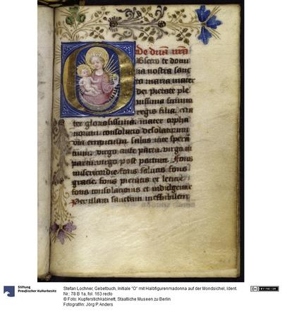 Gebetbuch, Initiale O mit Halbfigurenmadonna auf der Mondsichel