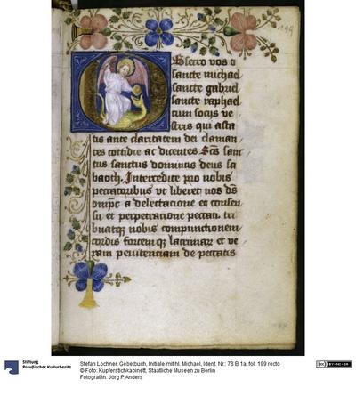 Gebetbuch, Initiale mit hl. Michael
