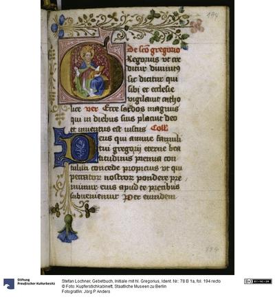 Gebetbuch, Initiale mit hl. Gregorius