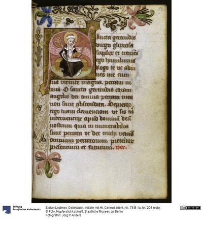 Gebetbuch, Initiale mit Hl. Gertrud