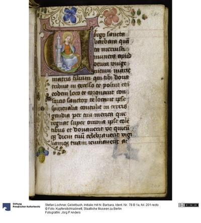 Gebetbuch, Initiale mit hl. Barbara
