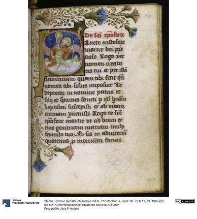 Gebetbuch, Initiale mit hl. Christophorus