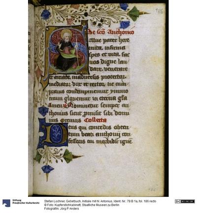 Gebetbuch, Initiale mit hl. Antonius