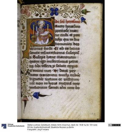 Gebetbuch, Initiale mit hl. Erasmus
