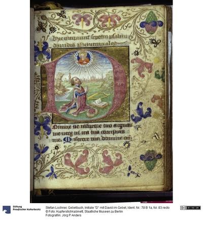 Gebetbuch, Initiale D mit David im Gebet