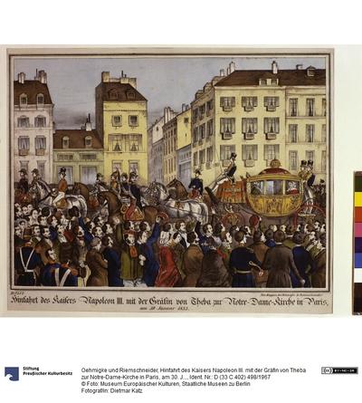Hinfahrt des Kaisers Napoleon III. mit der Gräfin von Theba zur Notre-Dame-Kirche in Paris, am 30. Januar 1853.