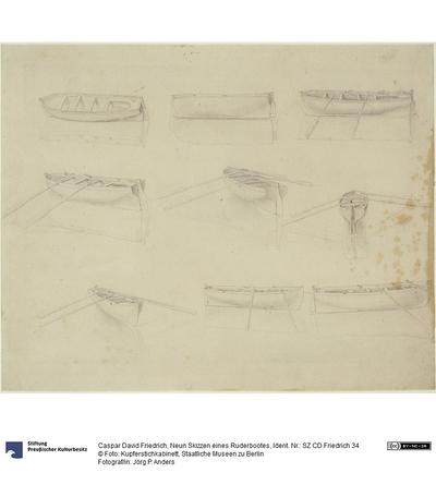 Neun Skizzen eines Ruderbootes