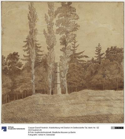 Waldlichtung mit Obelisk im Seifersdorfer Tal