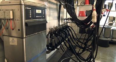 Milking Machine Cleaning Unit while flushing