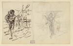 [Două schiţe de ţărănci torcând] ; Atelierul/N. Grigorescu/Pictorul ;