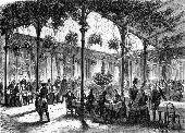 Jardin d'Hiver the Winter Garden of the Restaurant Champeaux, Place de la Bourse, designed by the architect Profilet. 1864