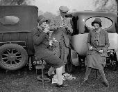 New College and Magdalen Point To Point Chases at Oddington .  Major Osbourne and the Misses I and S Weatherby  enjoying their picnic . 1920s