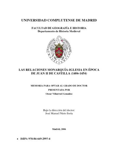 Las relaciones monarquía - iglesia en época de Juan II de Castilla (1406-1454)