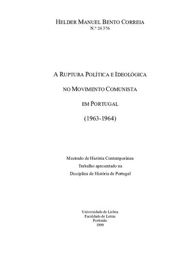 A ruptura política e ideológica no movimento comunista em Portugal (1963-1964)