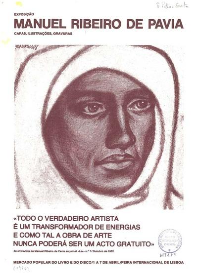 Exposição Manuel Ribeiro de Pavia: capas ilustrações gravuras. catálogo